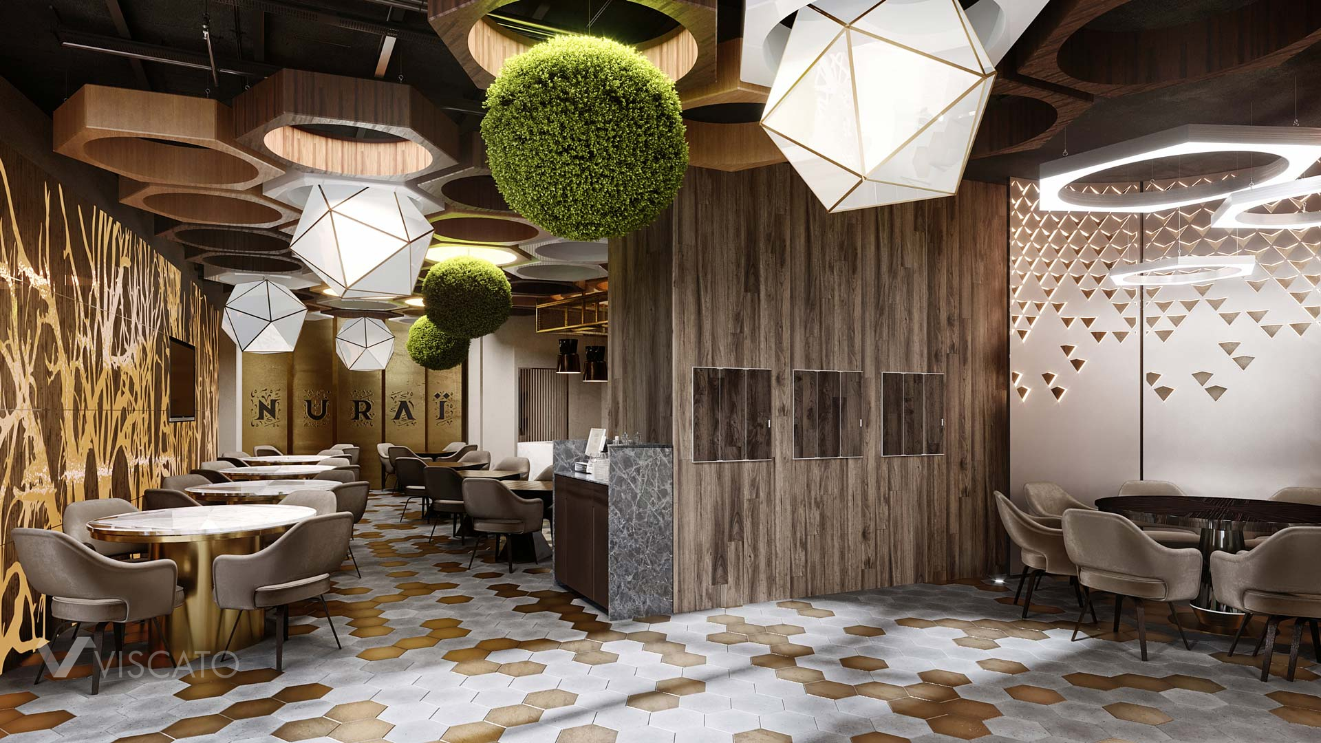 Modern restaurant interiors with hexagons, Viscato 3D