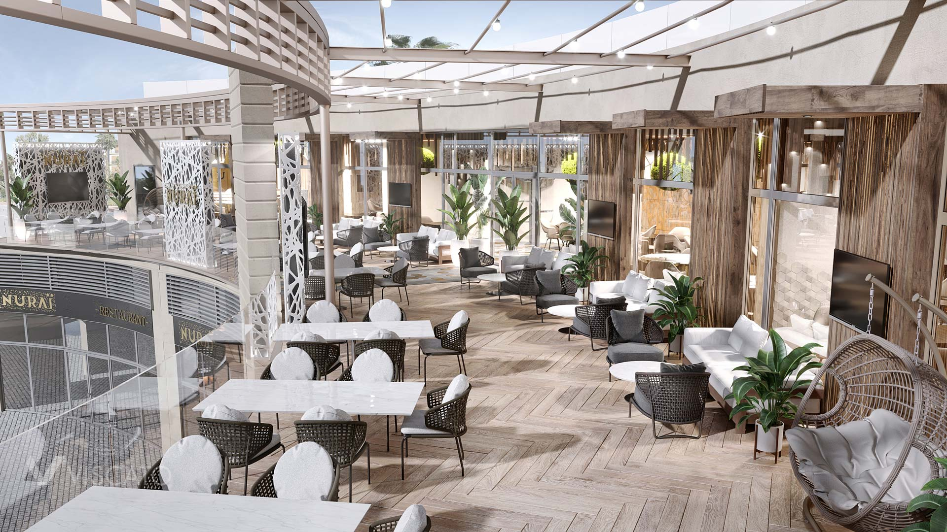 Restaurant terrace, 3D visualization