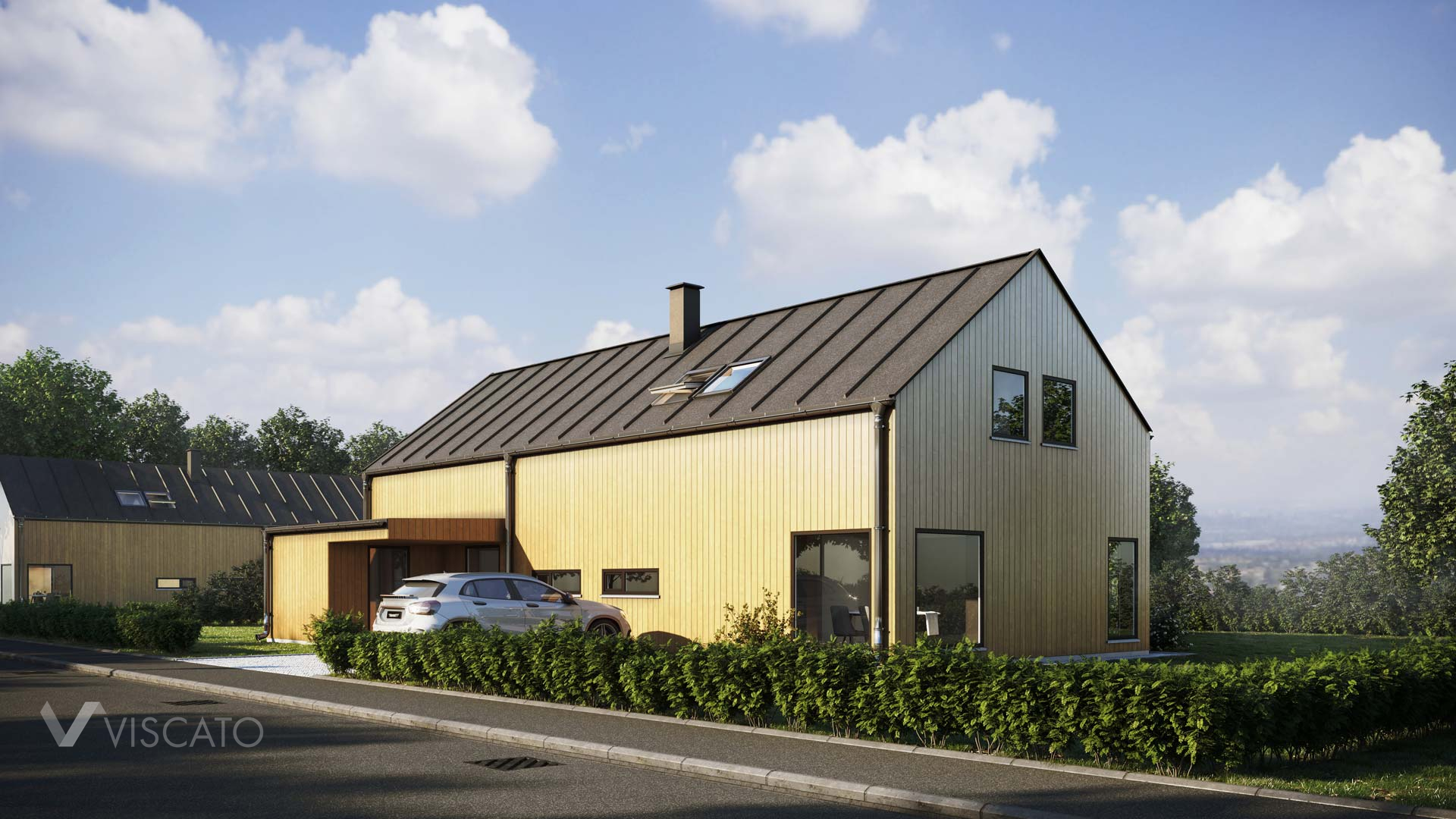 Contemporary oak-colored house, 3D exterior