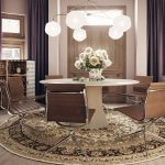 Brown round carpet, 3D interior