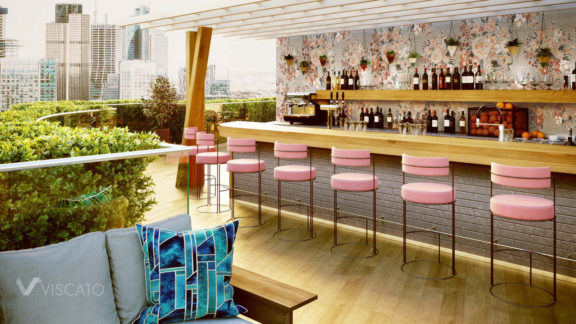 Pink bar chairs, Viscato 3D