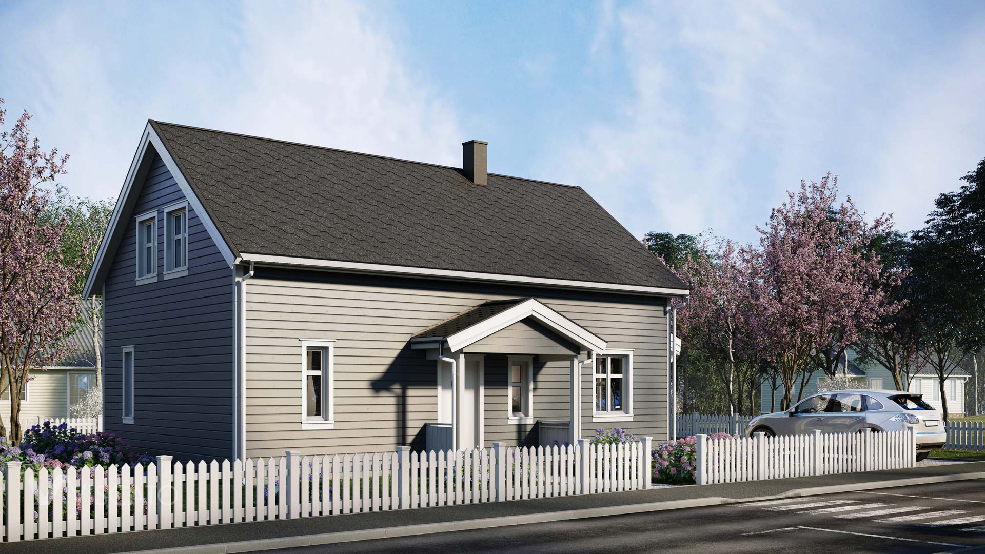 Grey coloured cozy house, 3D architectural rendering