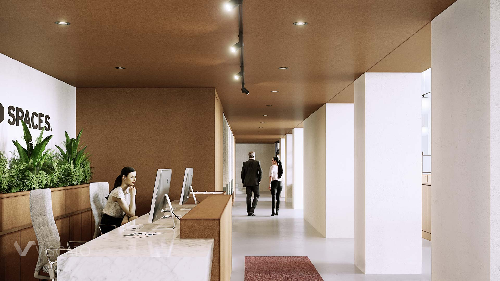 White reception desk, 3D visualization