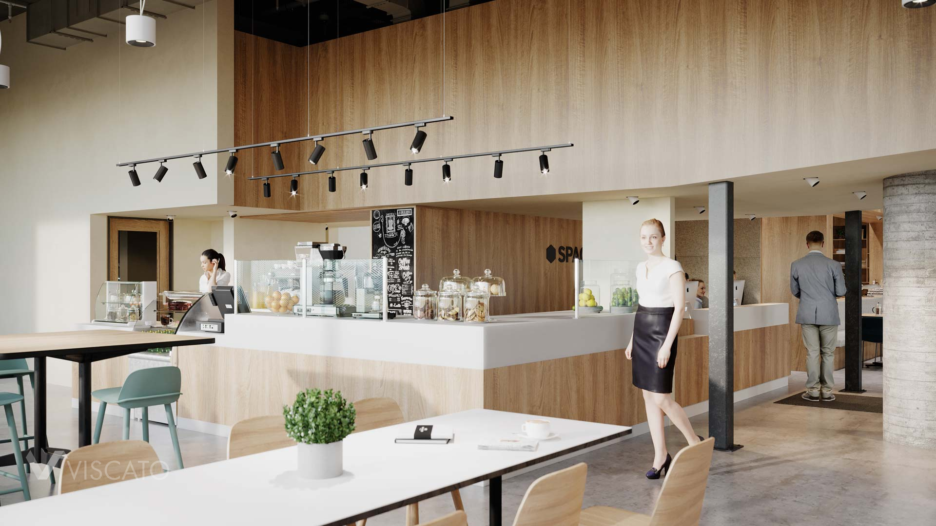 Office canteen, 3D rendering