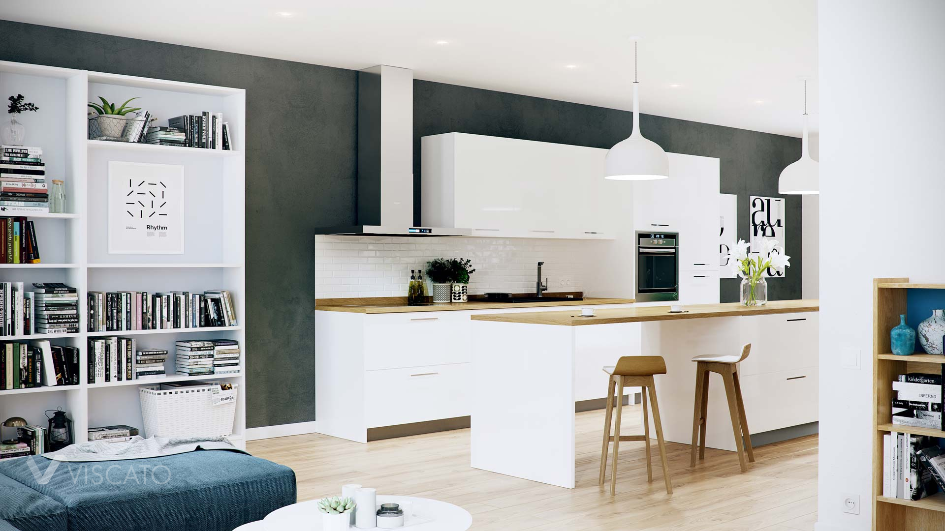 White spacious kitchen, Viscato 3D