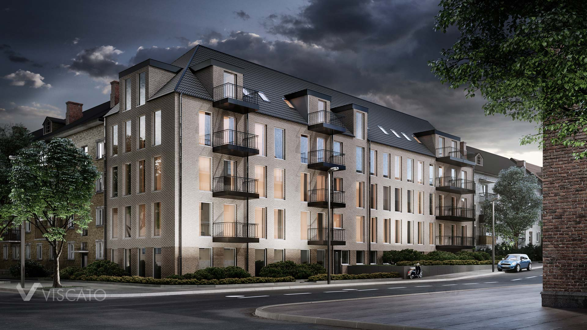 Flat complex, 3D architectural rendering