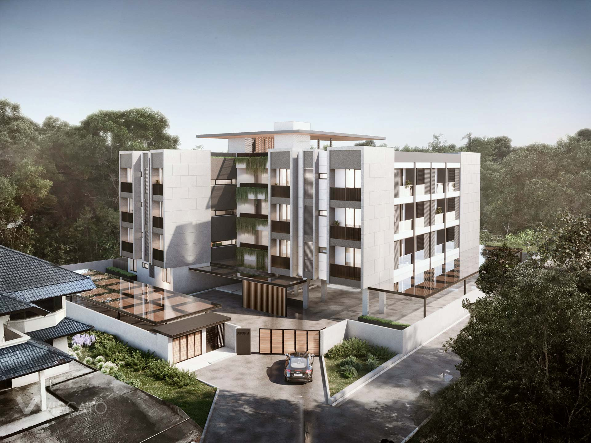 Apartments in green oasis, 3D architectural rendering