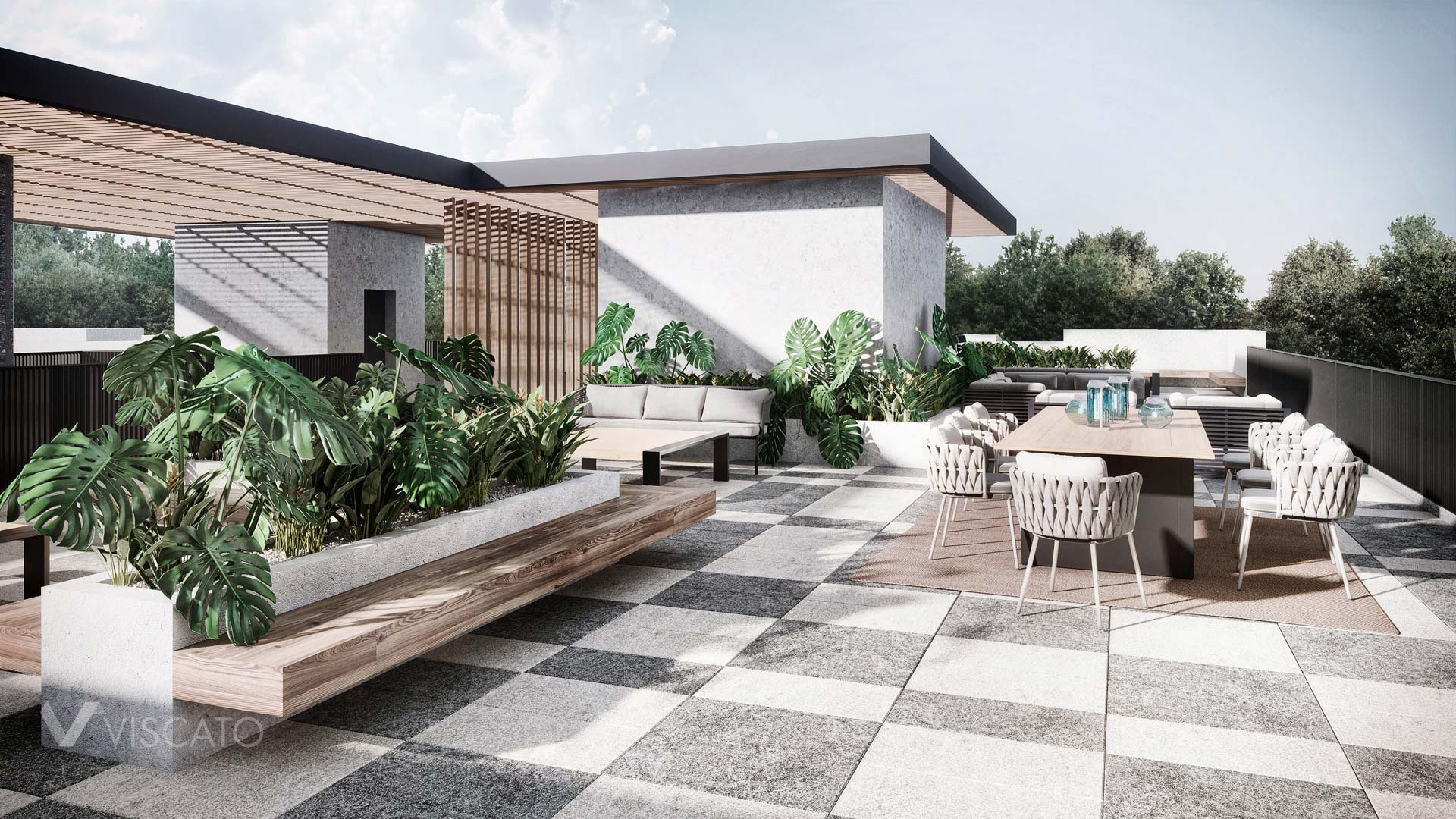 Exotical terrace, 3D rendering