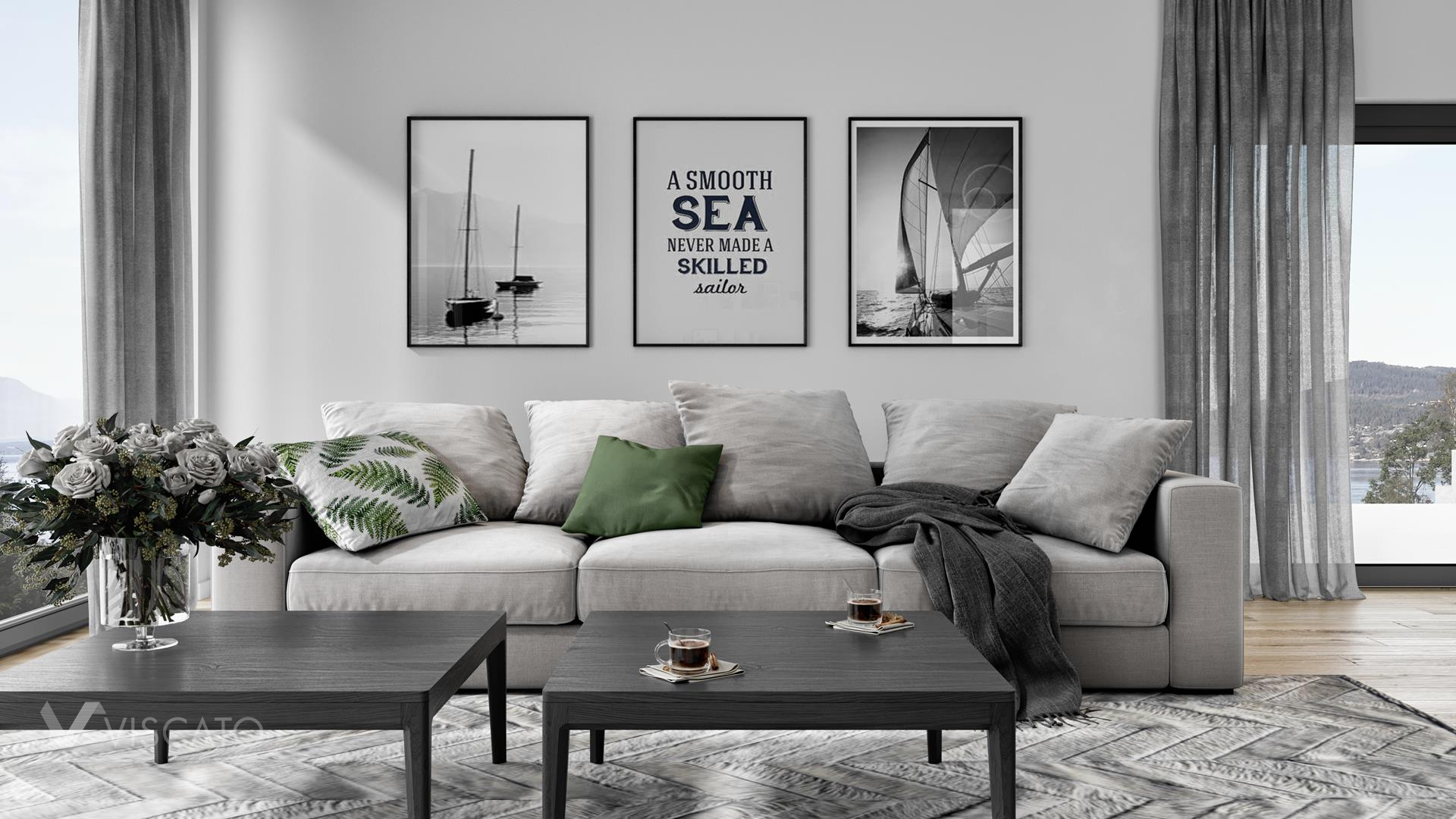 Black and white paintings, 3D render