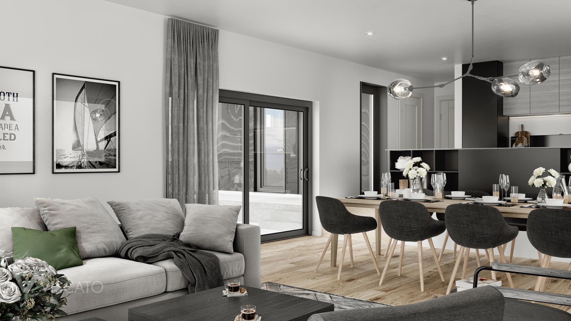 Grey curtains, 3D rendering