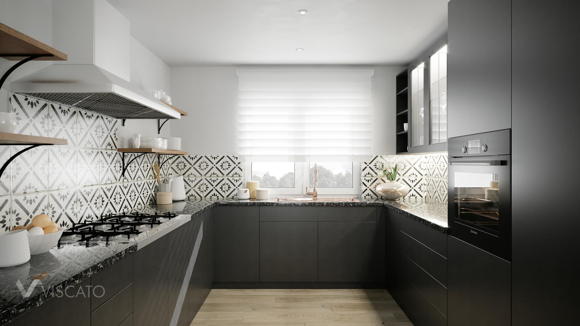 Black kitchen set, 3D interior