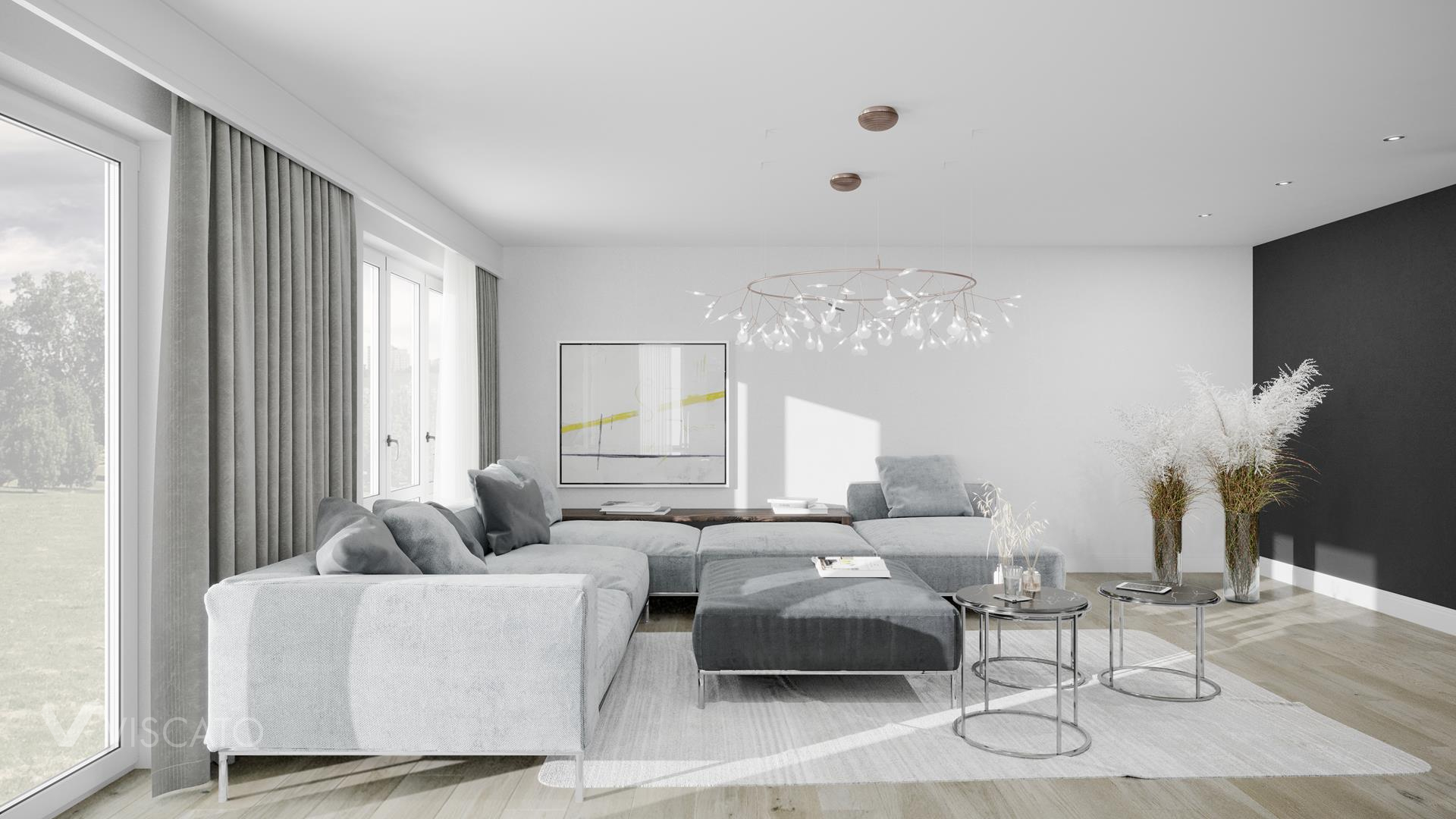 Grey sofa, 3D render