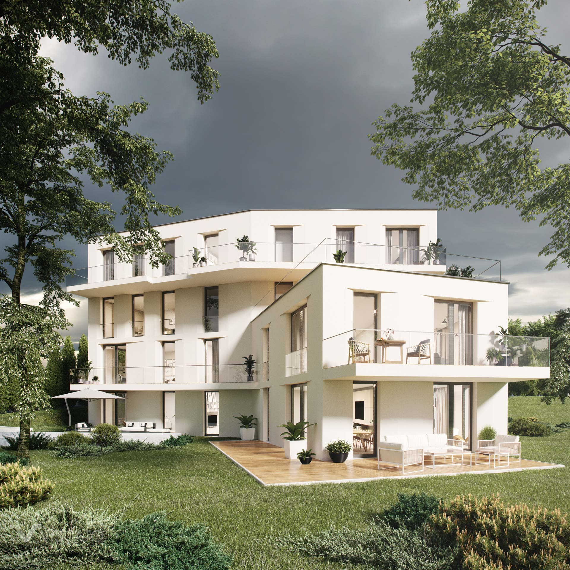 Open terrace, 3D architectural rendering