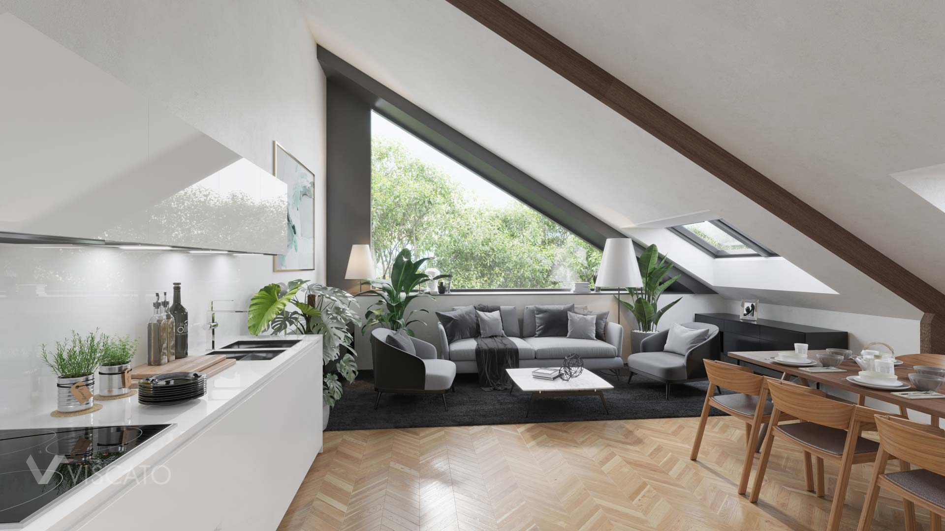 Triangular window, 3D Interior