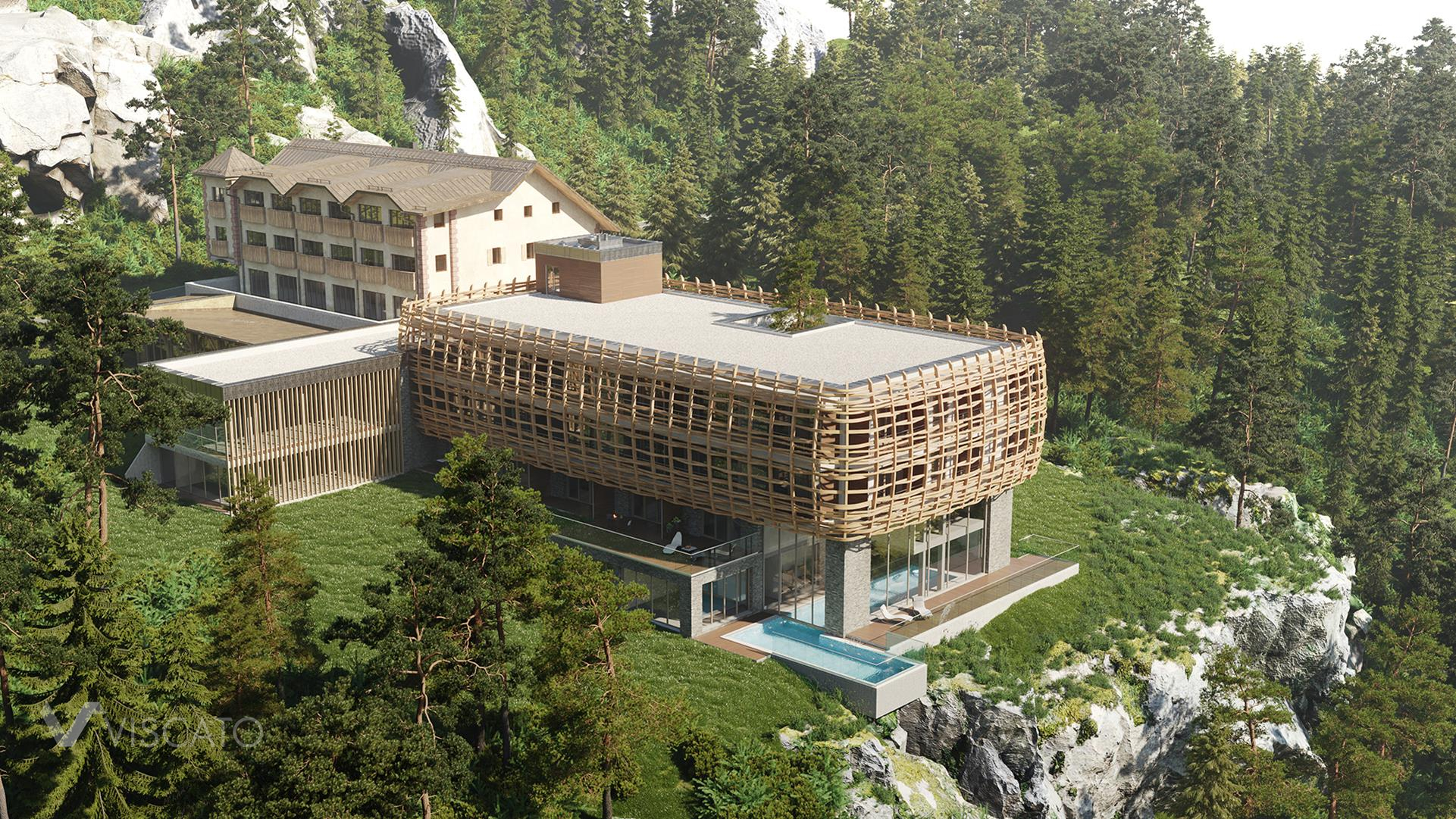 Building in mountains, 3D Architectural Rendering