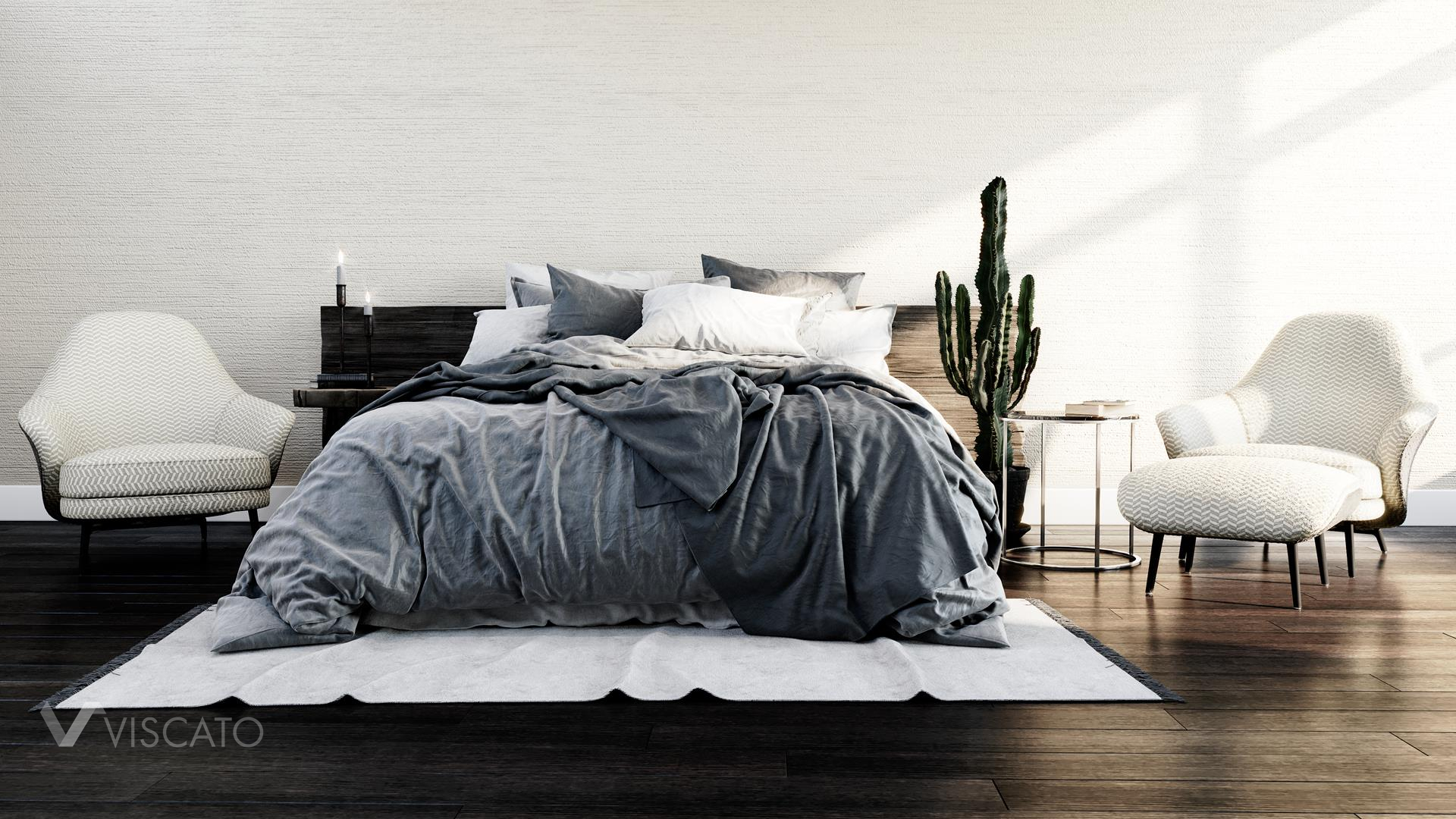 Bed in grey shades, 3D Visualization
