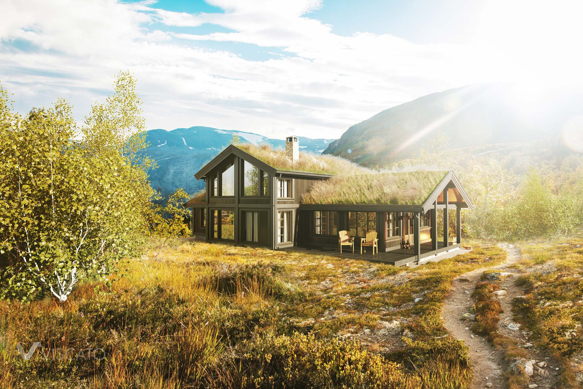 Cottage surrounded by nature, 3D Rendering