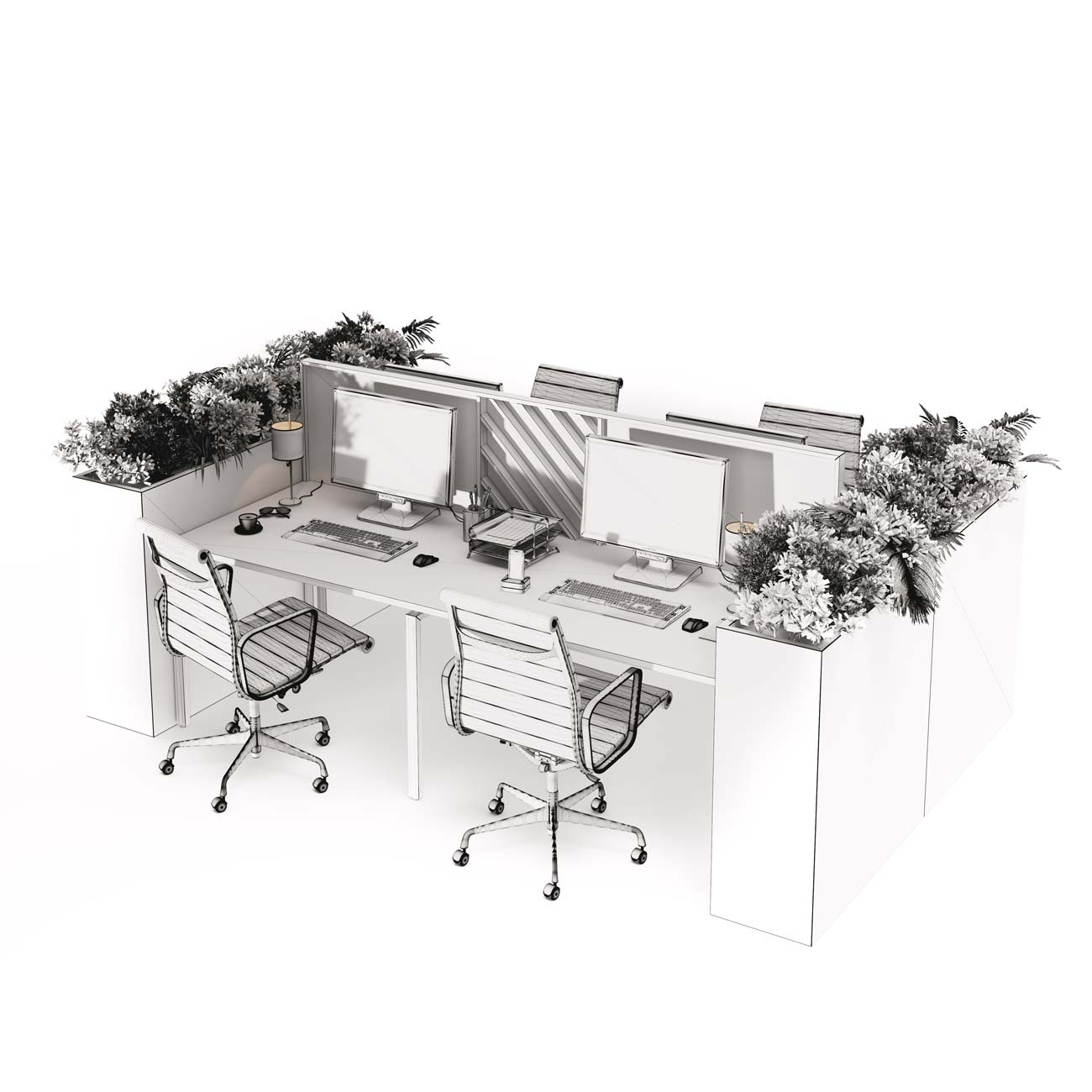 Model of the office furniture, Viscato 3D
