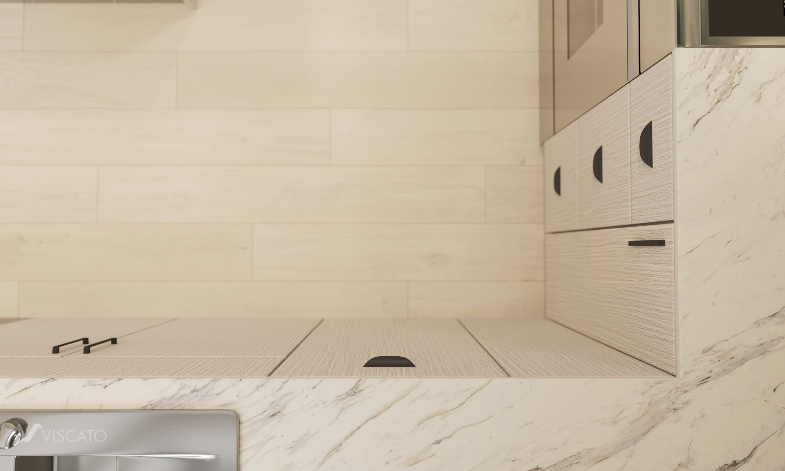 Kitchen details view from above, 3D visualization