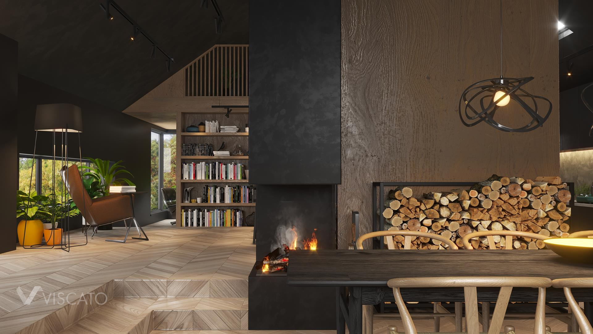 Black mat fireplace, 3D Rendering