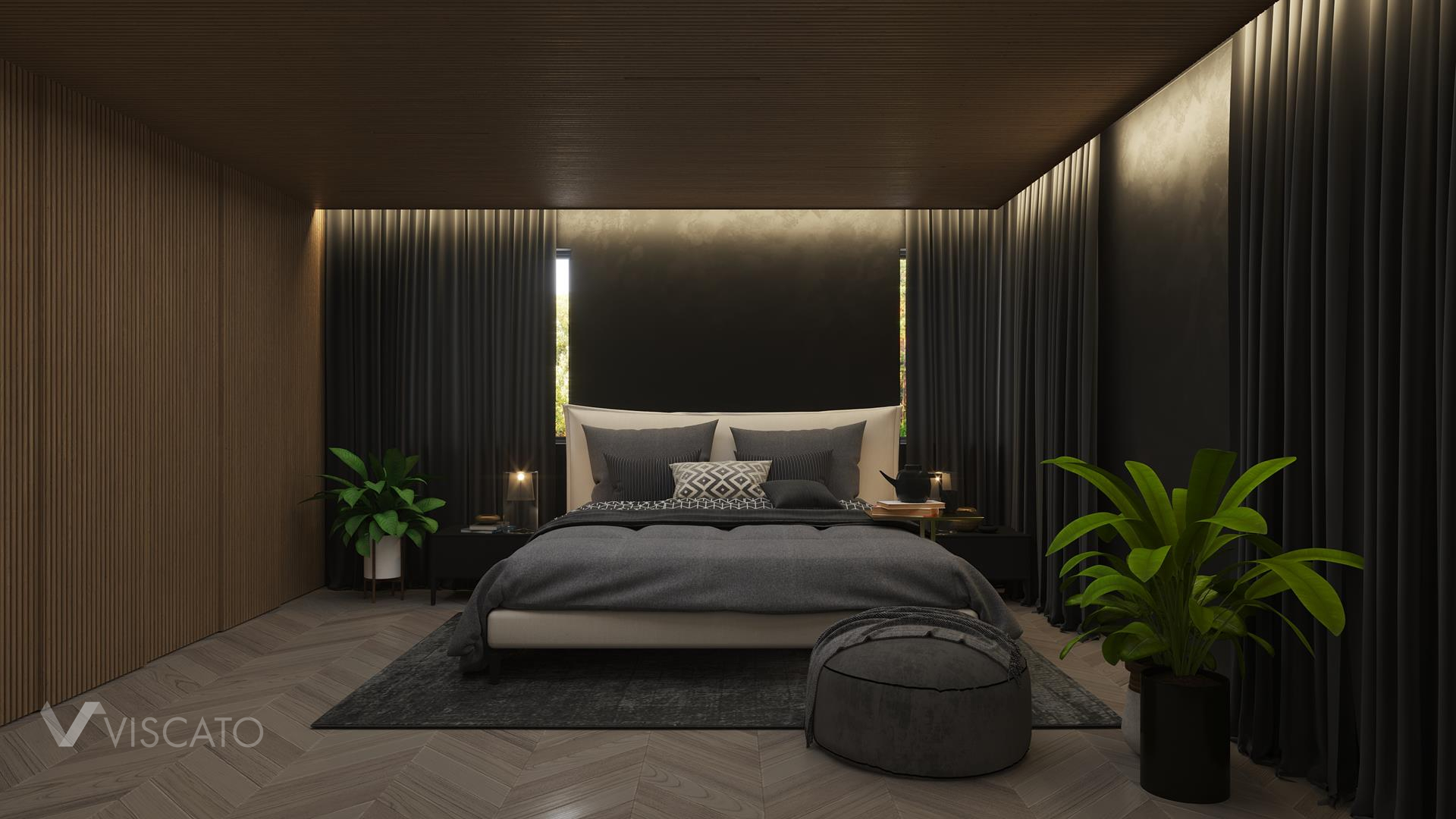 Bedroom in dark shades, 3D Visualization