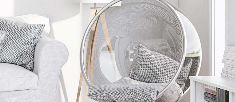 hanging chair in the living room, Viscato