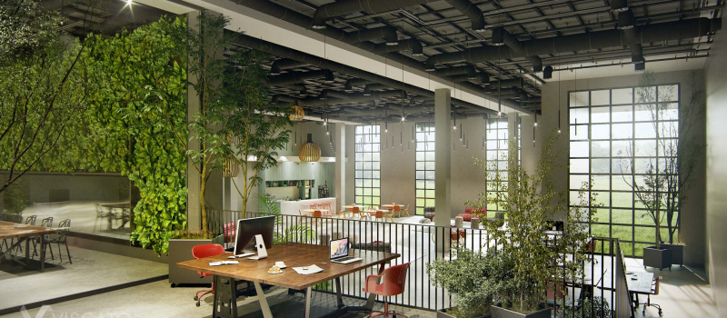 Industrial style office, 3D visualization