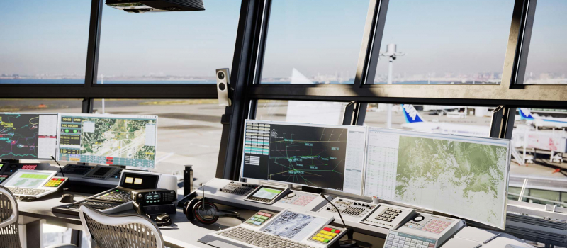 control tower device set, 3d product rendering
